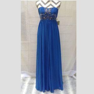 ASOS blue embellished strapless maxi gown 4 NWT